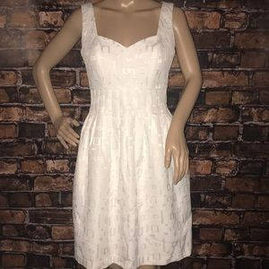 Max and Cleo textured white fit and flare dress